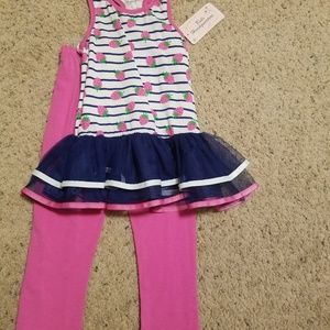 Little girls new two-piece 6x pants set